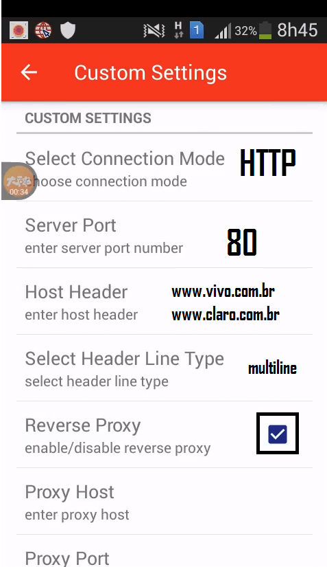 custom settings conectar stark vpn vivo claro tim brasil